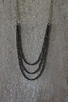 Layered necklace beaded necklace black necklace by AnankeJewelry