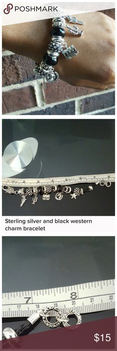 Sterling Silver & Black Western Charm Bracelet Very cute but just not for me.  Western style charms including:  cactus 🌵, gun,  covered wagon, horse shoe, sheriff's star & decorative spacers.  Original purchase from boutique in Fort Worth.  See photos for sizing. Jewelry Bracelets