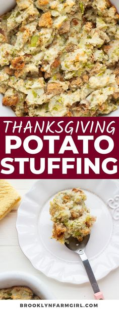 Make your Thanksgiving dinner extra comforting with this Amish Potato Stuffing Recipe. The savory bites of mashed potatoes, breadcrumbs, sauteed veggies, and sage make this side dish a must-have at holiday meals. Side Dishes For Chicken, Vegetable Side Dishes, Vegetarian Recipes Dinner, Healthy Dinner Recipes, Thanksgiving Dinner Recipes, Holiday Meals, Stuffing Recipes, Side Dish Recipes, Potato Recipes