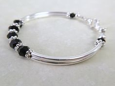 Bridesmaid Bracelet, Wedding Bracelet, Bridesmaid Gifts, Bridal Party Jewelry, Wedding Jewelry, Black Crystals, Swarovski Crystals, Bangle Bracelets, Bangles
