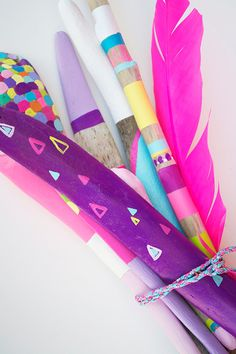 Neon Painted Sticks Collection for Home Decor - 7 Piece, Ombre, Stripes, Boho, Bohemian, Tribal, Triangles - Feather, Centerpiece, Pattern.