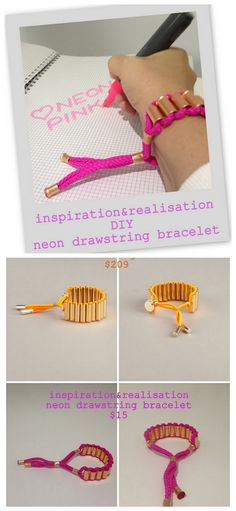 truebluemeandyou:    DIY Matthew Williamson Neon Drawstring Bracelet. All supplies from The Home Depot - seriously! This is one of the tutorials I see when I wake up that makes me very happy. Tutorial is by Inspiration & Realisation here.