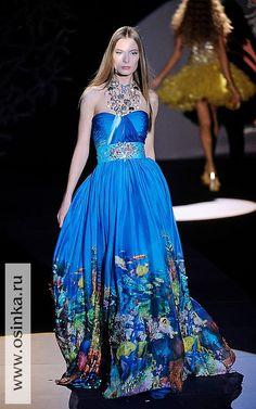 Zuhair Murad ~ strapless deep blue sea reef gown