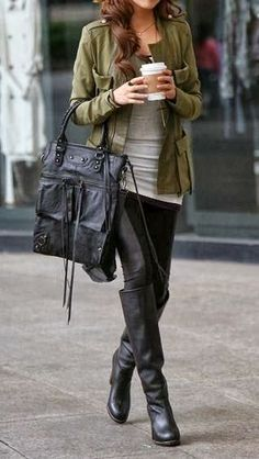 Army Jacket With Long Boots and Big Leather Bag