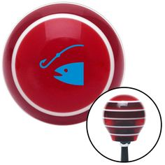 Blue Fish and a Hook Red Stripe Shift Knob with M16 x 15 Insert