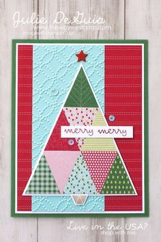 Christmas Quilt by Stampin' Up! with matching Quilt Builder Framelits | Holiday Cards | Quilting with Paper | Rubber Stamping | The Way We Stamp | Julie DeGuia | Handmade Cards
