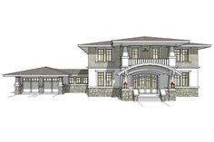 Prairie Style House Plan - 2 Beds 3.5 Baths 3860 Sq/Ft Plan #64-122 Front Elevation - Houseplans.com