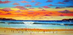 Sunset on the Beach Original Painting Wonderful by Murayatiart