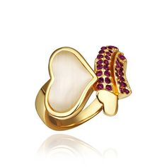 Gold Plated Citrine Heart Shaped Ring Size, Women's