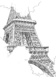 Easy Drawings: 70 Easy and Beautiful Eiffel Tower Drawing and Sketches Black And White Wall Art, Black And White Drawing, Black White, Drawing Sketches, Art Drawings, Drawing Step, Drawing Art, Sketching, Eiffel Tower Drawing