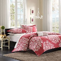 @Overstock - Mizone's 'Lyon' comforter set is a beautiful addition to any teen girls' bedroom. With a white leaf print on a dusty pink background, this comforter is youthful yet sophisticated. Matching shams and a decorative pillow add the perfect finishing touch.http://www.overstock.com/Bedding-Bath/Mizone-Lyon-Full-Queen-4-piece-Comforter-Set/6629568/product.html?CID=214117 $59.99