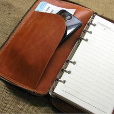 A6 Leather Journal Diary Notebook with zipper by FocusmanLeather