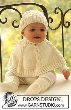 Drops design Poncho, hat, and socks FREE PATTERN such a cute winter outfit for a little one