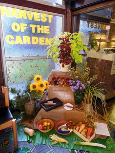 Harvest of the Garden display for the Harvest Experience for schools visit to St John's Methodist Church, Bloxwich.