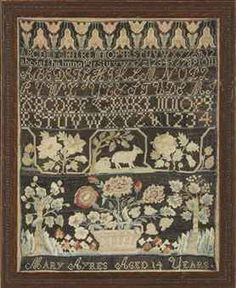 Mary Ayres, sampler, Norwich, CT ca. 1788o