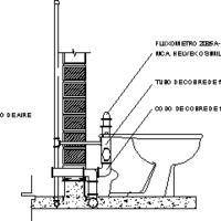 Detalle Conexión De Inodoro Con Fluxómetro (dwg - Dibujo de Autocad) - Instalación De Artefactos Sanitarios