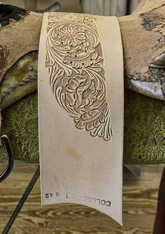 Here is a piece of hand tooled leather that will soon be attached and fitted to a custom show saddle!  #harrisleatherandsilverworks photo from:  Seeing Southern