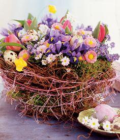 Spring bouquet of Bellis, iris, tulips and Scilla...