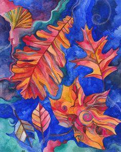 Falling Through the Blue Original Watercolor by Megan Noel