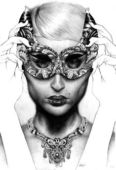 Unfinished, sketchy look. Mask vs Figure drawn in different styles. Mask is much bolder, outlined and detailed, while figure is drawn much softer and less harsh. encharnting series by Iain Macarthur, via Behance Doodles Zentangles, Zentangle Patterns, Masks Art, Electronic Art, Moda Fashion, Freelance Illustrator, Doodle Art, Unique Art, Surrealism
