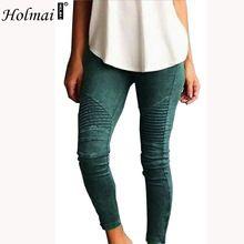 HOLMAI Plus Size Fashion Women Solid Pleated Pencil Ninth Pants Skinny Stretchy Long Leggings Slim Casual Green XS~5XL Trousers