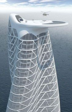 Dubai architecture – buildings of the United Arab Emirates : Rooftop helipad for a proposed residential tower in UAE Architecture Antique, Futuristic Architecture, Beautiful Architecture, Contemporary Architecture, Art And Architecture, Futuristic Design, Chinese Architecture, Residential Architecture, Minimalist Architecture