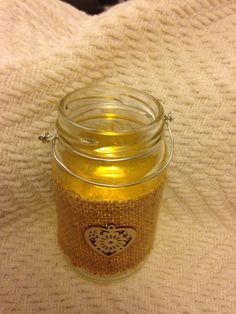 Upcycled glass jar tea light holder burlap covering