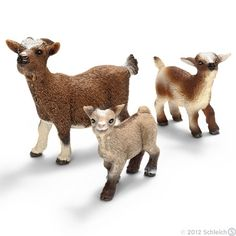 For Sherry - dwarf goats! Schleich Horses Stable, Horse Stables, African Jungle Animals, Breeds Of Cows, Bryer Horses, Dwarf Goats, Farm Fun, Mini Farm, Girl Themes