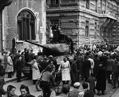 Soviet forces in central Budapest after the invasion to put down the revolution (November Budapest Hungary, Soviet Union, Revolver, Troops, Old Photos, Revolution, Empire, Street View, Europe