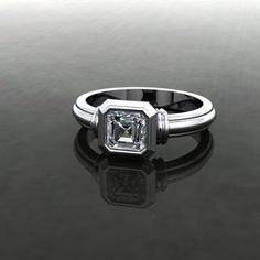Vintage Ring with Diamond centre Style: Simple Side Detail: Collar Geometric