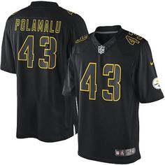 68bf64a1f28 Nike Elite Mens Pittsburgh Steelers #43 Troy Polamalu Impact Black NFL  Jersey$129.99 Green Bay