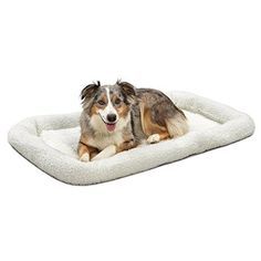 MidWest Deluxe Bolster Pet Bed for Dogs & Cats White Fleece 42 Inch Plush New Large Dog Breeds, Large Dogs, Dog Crate Mats, Cool Dog Beds, Thing 1, Cat Carrier, Pet Mat, White Dogs, Silent E