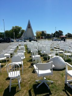 Cardboard Cathedral, Christchurch, NZ & 185 empty chairs as a memorial to the 185 earthquake victims New Zealand South Island, Kiwiana, Art Installation, Canterbury, Empty, Cathedral, Chairs, Memories, Travel