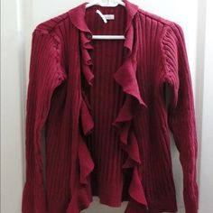 Cardigan This red cardigan is perfect to wear with a cute undershirt and some jeans or dress it up and wear some slacks! Van Heusen Sweaters Cardigans