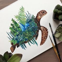 I thought it was time for another #turtle. This time with succulents and less crystals (maybe you remember the other one I made some time ago) haha Which one do you like best? #art #drawing #adultcoloring #adultcolouring #doodles #artist_4_feature #artistsoninstagram #watercolor #watercolour #illustration #succulents #succulentlove #turtledrawing