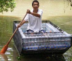 boat made of empty plastic bottles