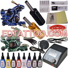 2 Tattoo Machine Guns with 8 x Colors Included Tattoo Kits For Sale, Beginner Tattoo Kit, Professional Tattoo Kits, Tattoo Machine Kits, Tattoo Equipment, Tattoo Needles, Top Tattoos, Tattoo Supplies, Permanent Makeup