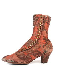 shoesofhistory:    (via Shoe-Icons / Shoes / Silk brocade boots with side lacing round metal buttons.)