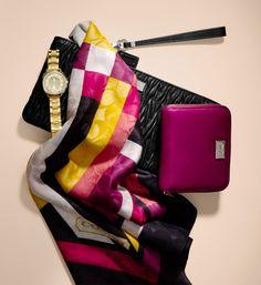 Gorgeous scarf pink yellow black white Coach