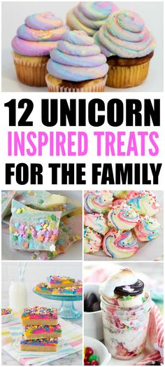 Unicorn-inspired treats perfect for a unicorn birthday party! 12 treats that include unicorn cupcakes, unicorn macarons, unicorn bark, and unicorn poop!