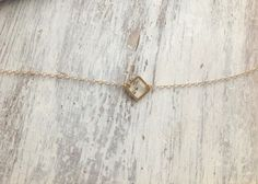 gold necklace, tiny gold necklace, simple necklace, dainty necklace, square link necklace on Etsy, $23.00