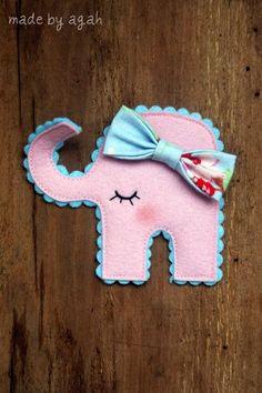 Sleepy Elephant Brooch by madebyagah on Etsy