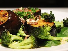 Warm Roasted Aubergine & Broccoli Salad Broccoli Salad, Salad Recipes, Spinach, Roast, Warm, Meals, Dishes, Vegetables, Bed