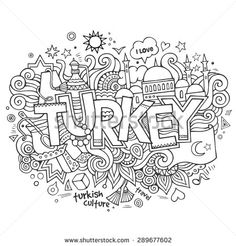 Illustration of Istanbul city hand lettering and doodles elements and symbols background. Vector hand drawn sketchy illustration vector art, clipart and stock vectors. Calligraphy Doodles, Doodle Lettering, Hand Lettering, Mandala Coloring Pages, Coloring Book Pages, Summer Coloring Sheets, Cute Doodle Art, Istanbul, Travel Doodles