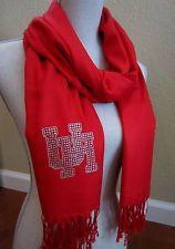University of Houston UH CRYSTAL LOGO RED PASHMINA Cougars scarf jewelry gift