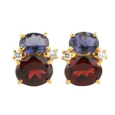 Mini GUM DROP™ Earrings with Iolite and Garnet and Diamonds 1