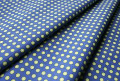 Fabric Finders #1014 Chartreuse Dots on Blue