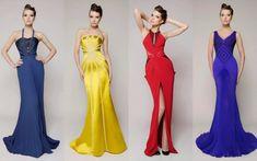 robe nouvel an et quatre modèles en bleu, jaune, rouge et violet