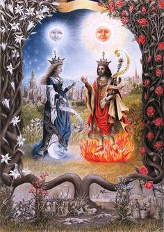 Laurie Lipton, Splendor Solis: The Sun King and the Moon Queen, color pencil on paper