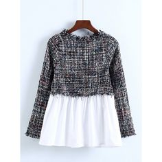 SheIn(sheinside) 2 In 1 Tweed Babydoll Blouse (257.030 IDR) ❤ liked on Polyvore featuring tops, blouses, multi color, black white blouse, long sleeve blouse, plaid blouse, peplum blouse and babydoll blouses